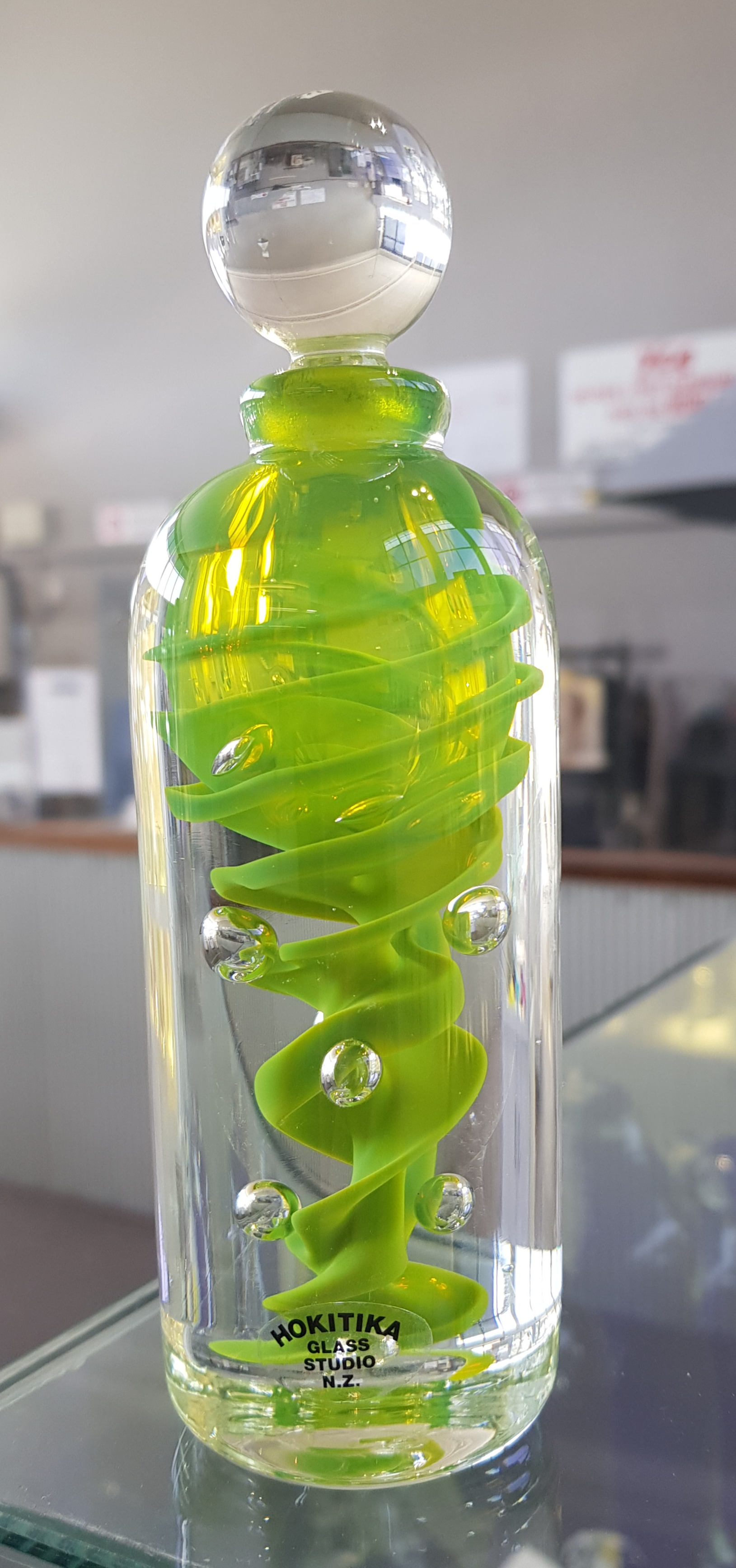 Tall Swirl Perfume Bottle - Fluorescent Green